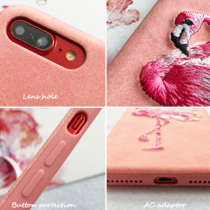 Phone case pink embroidery flamingo..
