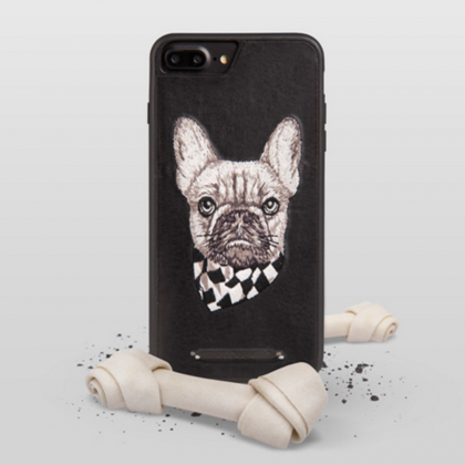Phone case Black bulldog embroidery..