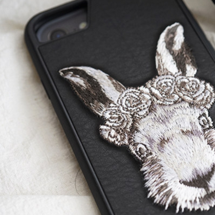 Phone case Black Rabbit embroidery ..
