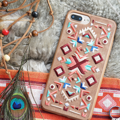 Phone case brown vintage Bohemian e..
