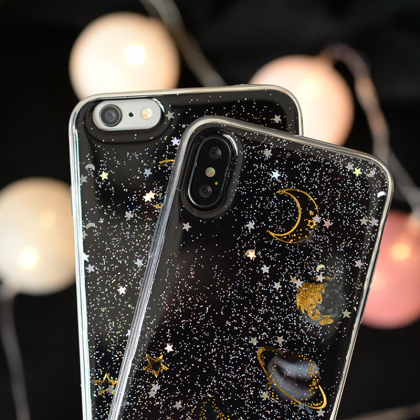Phone case couples cute pet glitter..