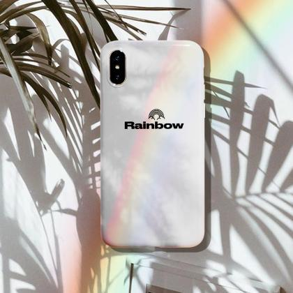 iPhone Case White Simple Rainbow Cl..