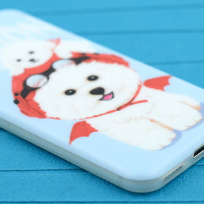 Phone case cute blue puppy Bichon F..