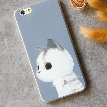 Phone case White cat cute funny awe..