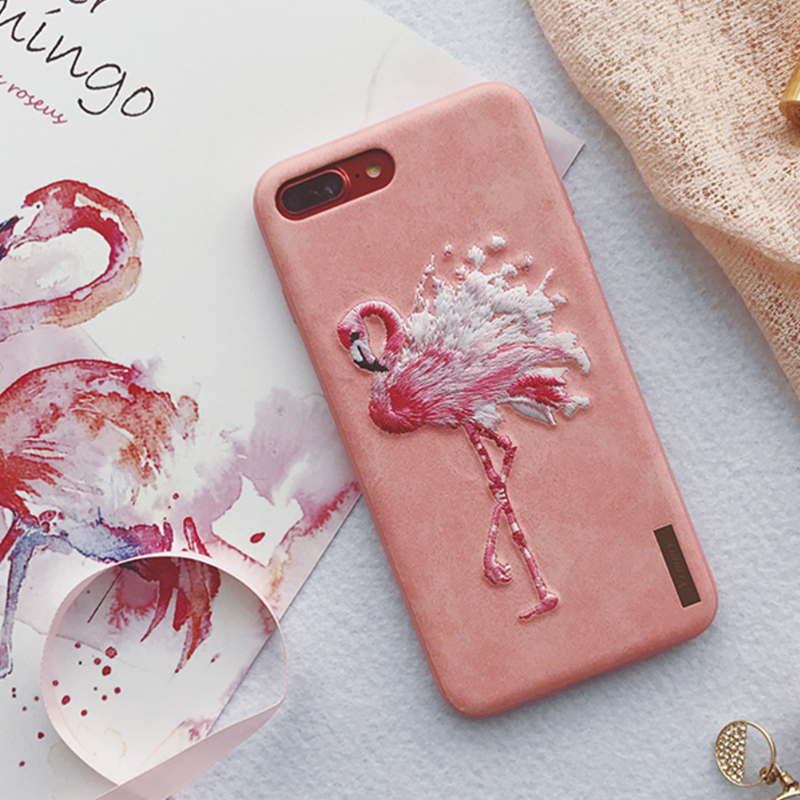 Phone case pink embroidery flamingos for girl cute awesome cool iphone 6,6s,6plus,6s plus,7,7plus cases covers accessories smartphone cases phone skins