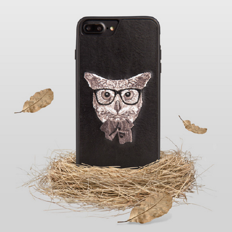 Phone case Black Owl embroidery animal awesome cool For teens iPhone 6,6s,6plus,6s plus,7,7plus cases covers accessories smartphone cases phone skins