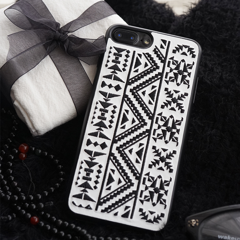 Phone case black vintage Bohemian embroidery awesome cool iphone 7,7plus cases covers accessories smartphone cases phone skins