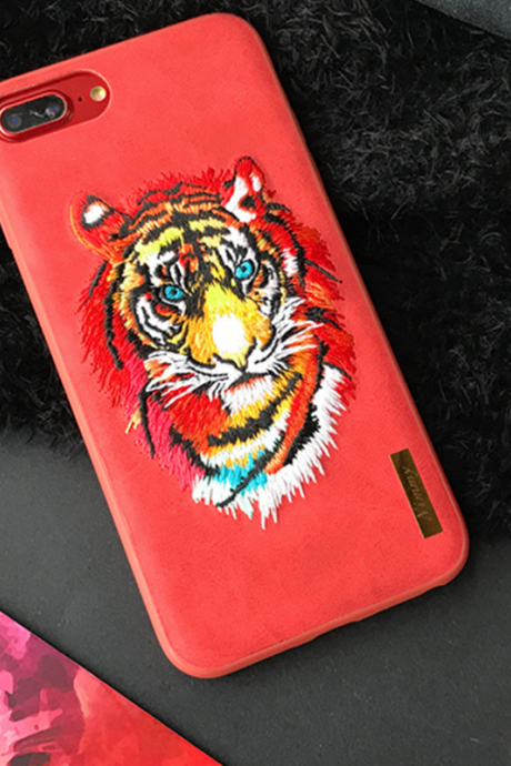 Phone case red embroidery Tiger for girl cute awesome cool iphone 6,6s,6plus,6s plus,7,7plus cases covers accessories smartphone cases phone skins