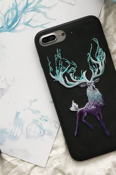 Phone case Black deer embroidery for girl cute awesome cool iphone 6,6s,6plus,6s plus,7,7plus cases covers accessories smartphone cases phone skins