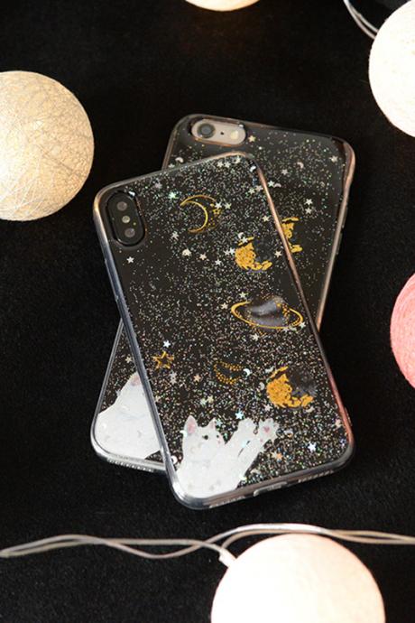 Phone case couples cute pet glitter starry sky cat Animal Tumblr iPhone 6,6s,6plus,6s plus,7,7plus,8,8plus, cases covers accessories smartphone cases phone skins