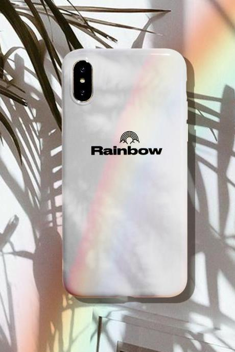 iPhone Case White Simple Rainbow Clean For Girl iPhone 7/iPhone 8/iPhone 7 Plus/iPhone 8Plus /iPhone x cases covers accessories smart phone cases phone skins