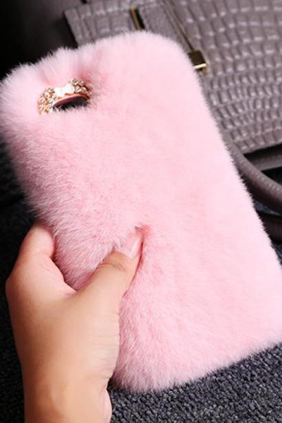 Phone cases Luxury Rabbit Hair Fur Plush Soft Pink iphone5/5s/6/6s/6plus/6splus cases covers accessories smart phone cases phone skins
