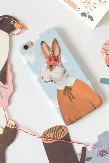 Phone cases Fashion blue rabbit animal awesome for girls iphone5/5s/6/6s/6plus/6splus cases covers accessories smart phone cases phone skins