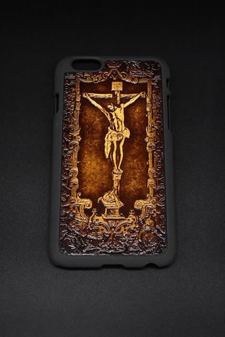 Handmade leather Jesus cross carved leather plastic phone case iphone custom phone case
