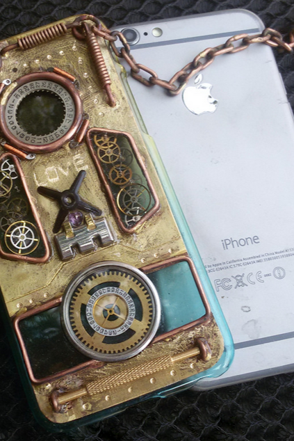 Phone case Steampunk iphone6,6s Original Custom Back Cover Case Metal Aluminum Gears attitude