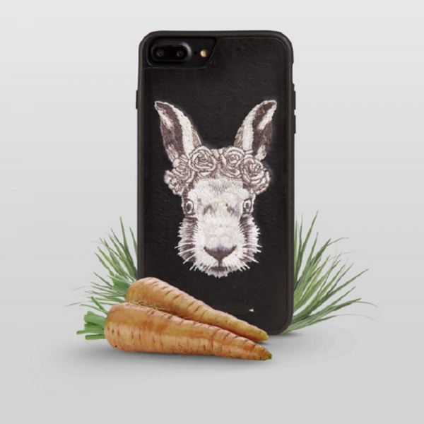 Phone case Black Rabbit embroidery animal awesome cool For teens iPhone 6s,6s plus,7,7plus cases covers accessories smartphone cases phone skins