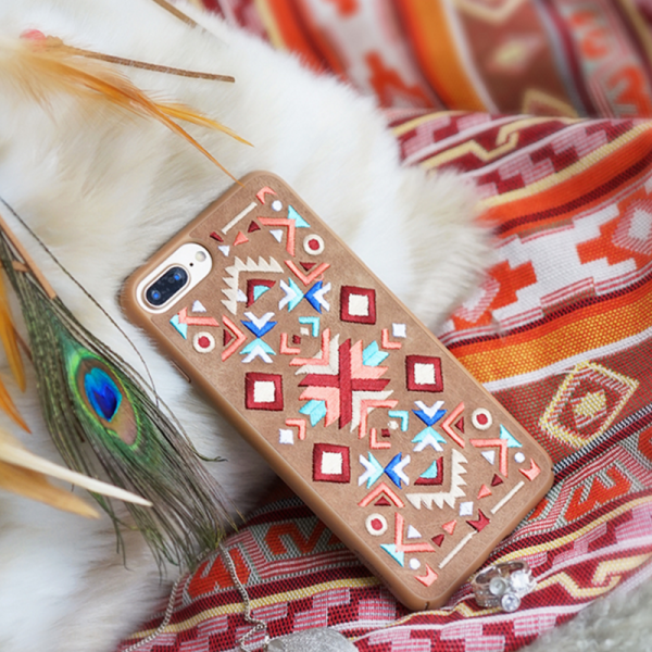 Phone case brown vintage Bohemian embroidery awesome cool iphone 7,7plus cases covers accessories smartphone cases phone skins