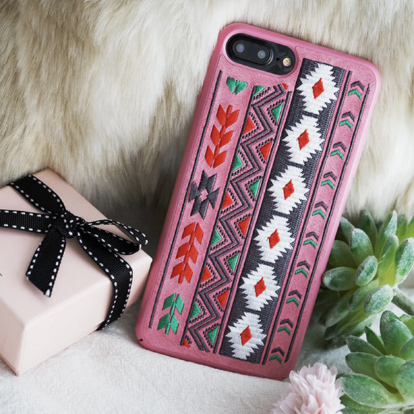 Phone case pink vintage Bohemian embroidery awesome cool iphone 7,7plus cases covers accessories smartphone cases phone skins