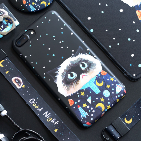 Phone case couples cute pet starry sky cat Animal Tumblr iPhone 6,6s,6plus,6s plus,7,7plus,8,8plus, cases covers accessories smartphone cases phone skins