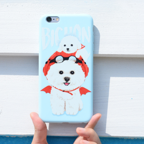 Phone case cute blue puppy Bichon Frise funny animal for girls iphone6/6s/6plus /6splus/7/7plus cases covers accessories smart phone cases phone skins