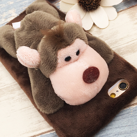 cute plush Animal Stand brown monkey  iphone6,iphone6s, iphone6plus,iphone6splus cases covers accessories smart phone cases phone skins